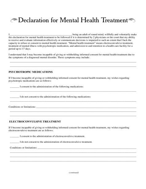 declaration  mental health treatment