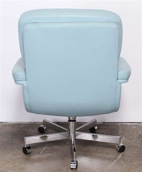 pace style blue leather and chrome executive chair 1980