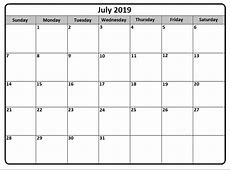 July 2019 Calendar Latest Calendar