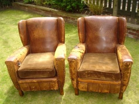 distressed leather armchair pair vintage distressed leather club armchairs 125473 3380
