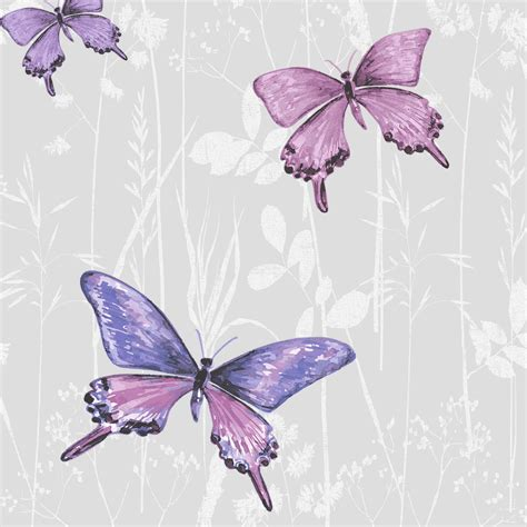 B And Q Bedroom Wallpaper by Colours Flutter Pink Purple Butterfly Glitter Effect