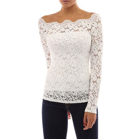 evening blouse womens floral lace shoulder top blouse shirt summer