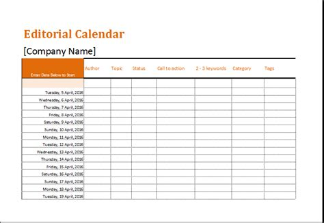 Editorial Calendar Template Retirement Checklist Template For Ms Excel Excel Templates