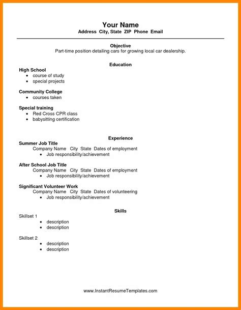 Resume Template For Students by 10 Cv Template For Student Part Time Instinctual