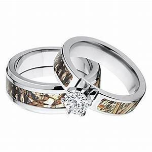 His and her39s matching mossy oak duck blind camo wedding for Mossy oak camo wedding rings for him