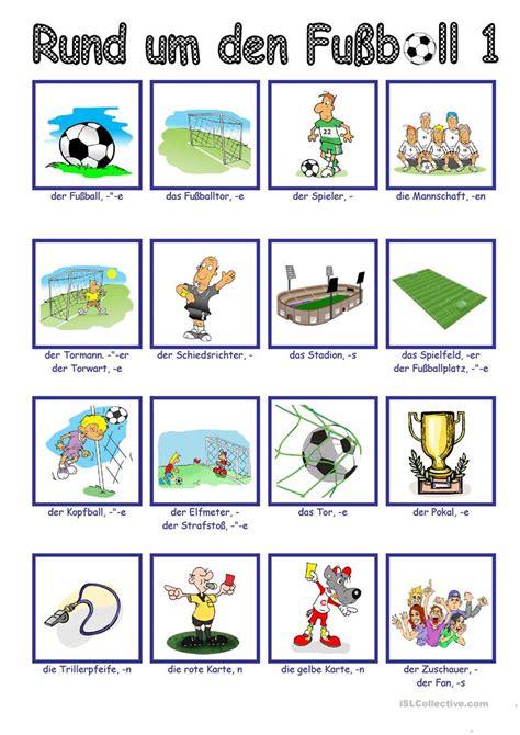 fussballbildwoerterbuch  arbeitsblatt kostenlose daf