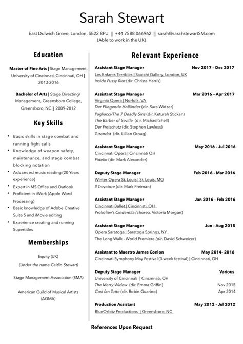 Stage Manager Resume by Resume Stewart Stage Manager
