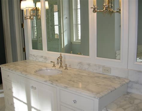 Beveled Marble Countertops  Traditional Bathroom