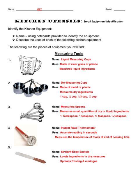 chapter  kitchen utensils worksheet kitchen utensils