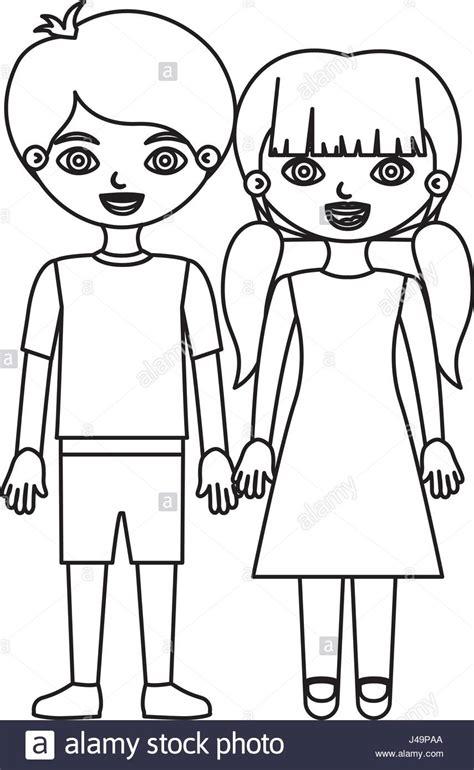 Dibujo De Silueta De Niño Y Niña Varios Niños