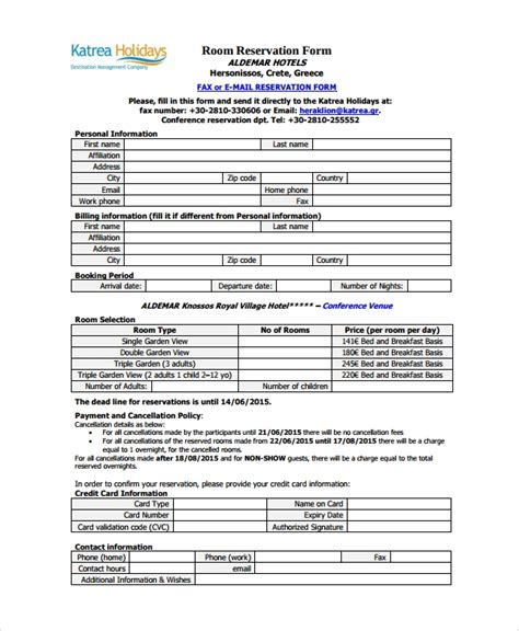 sle reservation form 9 documents in pdf