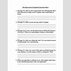 The Depression Scrapbook Question Sheet Worksheet For 9th  12th Grade  Lesson Planet