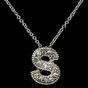 quotsquot clear rhinestone letter initial pendant necklace 1 With s letter pendant