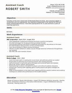 Build A Resume For Free And Download Assistant Coach Resume Samples Qwikresume