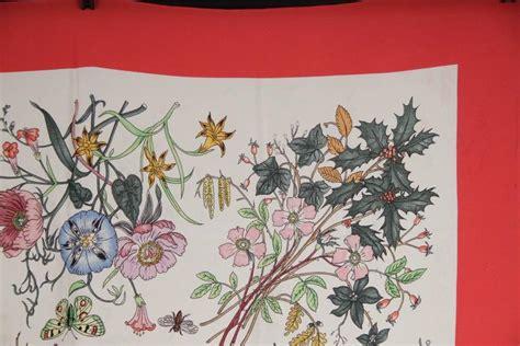 gucci vintage flora scarf accornero flowers red border  sale  stdibs