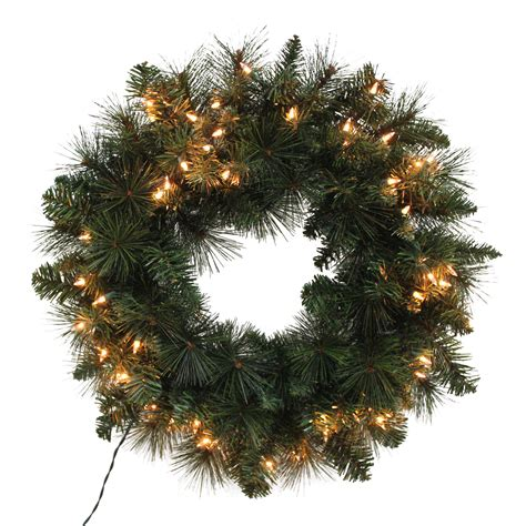 trim a home 174 mixed pine pre lit christmas wreath with clear lights 24 quot shop your way online