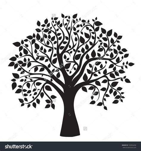 tree template black and white stock vector black tree silhouette isolated on white