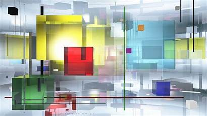 Abstract Cube Transparency Colorful Geometry Lines Square