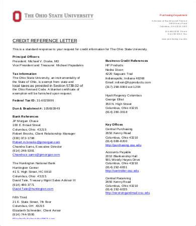 credit reference letter   word  documents