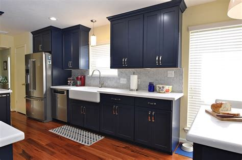 navy blue kitchen remodeling project  houston tx usa