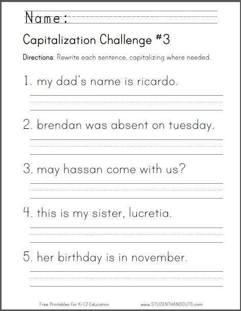 capitalization challenge 3 free to print pdf file ccss for first grade l 1 2 a first