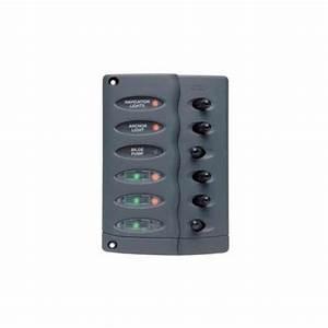 Bep Marine Contour Switch Panel 6 Way Vert 12-24v
