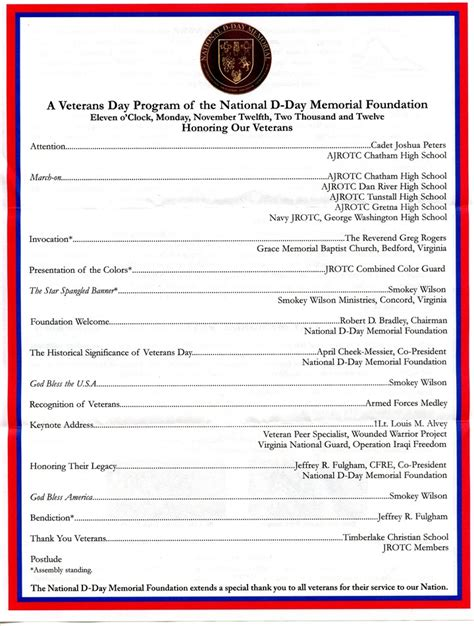 veterans day program template 10 best images of memorial day observance program sle veterans day letter exles