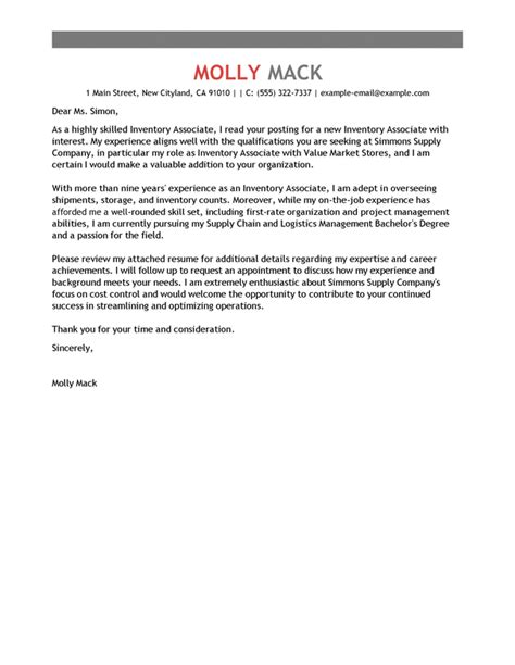 Inventory Cover Letter by Best Inventory Associate Cover Letter Exles Livecareer