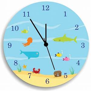 Kids wall clock under the sea nursery wall decor for Wall clock images for kids