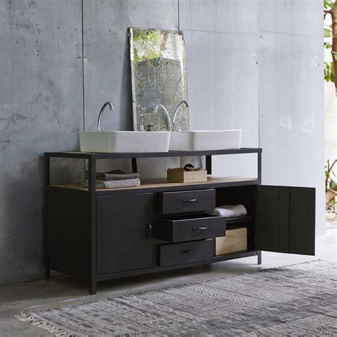 bureau industriel metal meuble sous vasque en mtal noir et manguier pour salle de