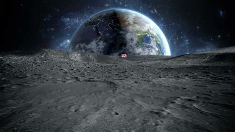 Earth View From The Moon Surface Beautiful Space