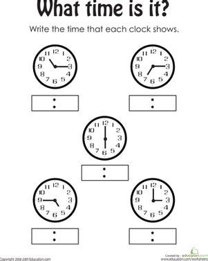 telling the time 2 worksheet education com