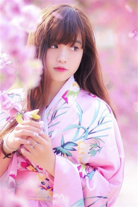 Wallpaper Lovely Japanese girl, spring, sakura, kimono ...
