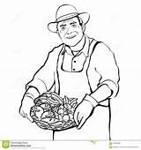 Farmer Outline Drawing Cartoon Basket Coloring Vegetables Fresh Illustration Vector Contour Preview Save Lightbox Create sketch template