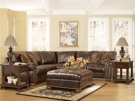 details  dark brown leather match fabric sectional