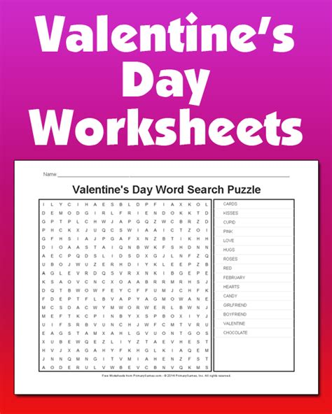 valentines day worksheets primarygames play