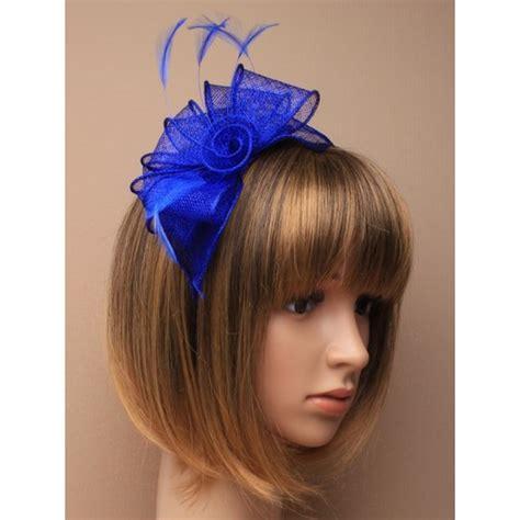 royal blue fascinator alice hair band  sinamay