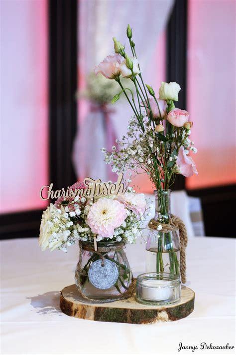 Tischdeko Hochzeit Deko Holzscheibe Deko Blumen Rosa