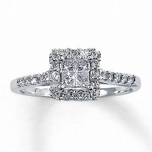 Big square diamond wedding ring kay diamond engagement for Princess cut engagement rings with wedding band