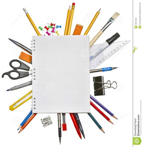 fourniture du bureau cahier et fournitures de bureau image stock image du