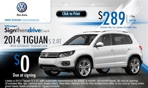 volkswagen tiguan  payment lease specials