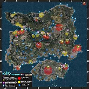 PUBG Map Loot Weapon Spawns Vehicle Spawn Locations