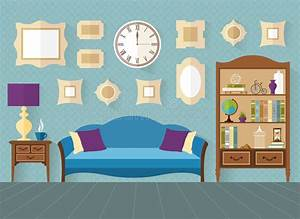 Living Room In Flat Style. Vector Illustration. Stock ...