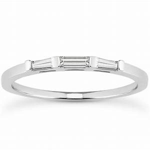 14k white gold tapered baguette three stone diamond With baguette wedding band rings