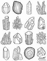 Coloring Gem Line Pages Crystal Gems Drawing Printable Books Colouring Minerals Doodles Colorful sketch template