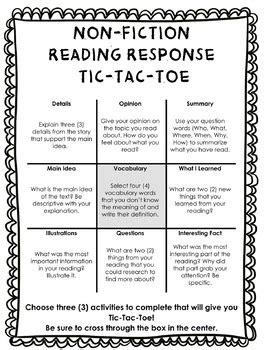 fiction reading response tic tac toe choice board