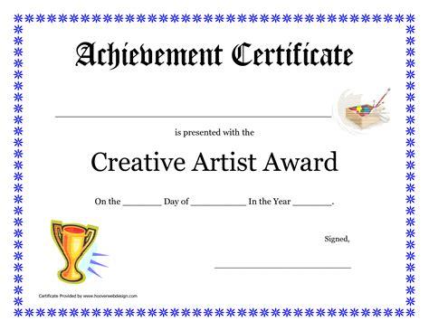 creative artist award printable certificate  cakepins