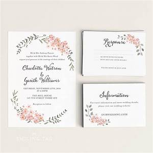 printable wedding invitation set watercolor floral With size of response cards for wedding invitations