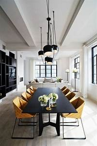 Bien decoration salle a manger gris et blanc 8 lustres for Deco cuisine avec chaise cuir noir salle manger
