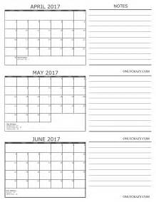 April May June Calendar 2017